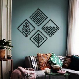 4 Elements Metal Wall Decor Art - Square Design - Ofiice and Housewarming Unique Gift