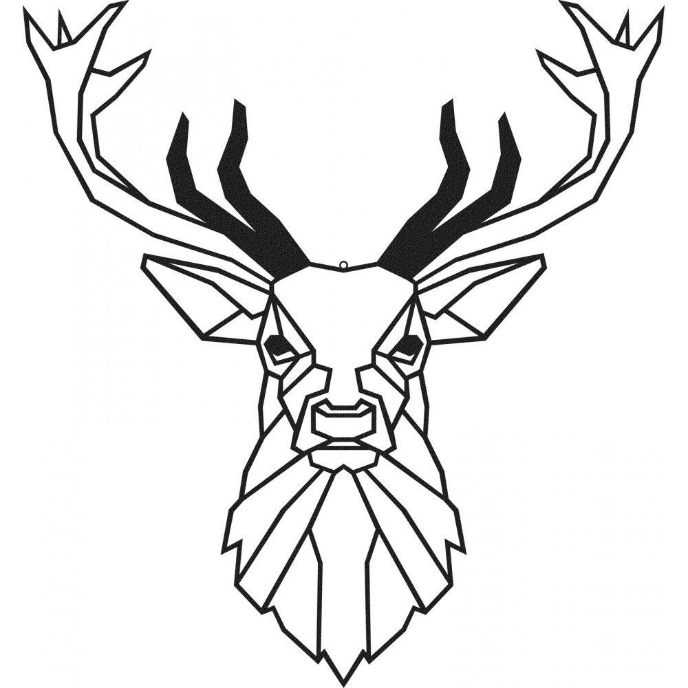 Geometric Deer Head 50 X 46 CM Metal Wall Decor